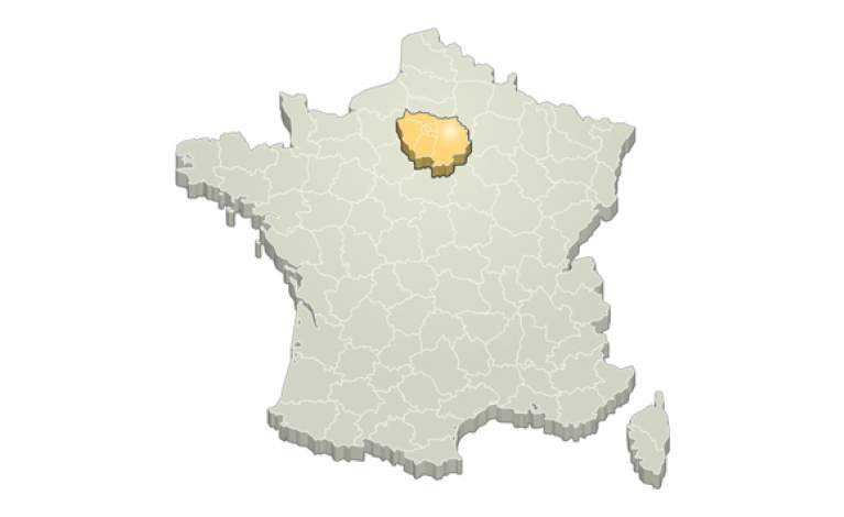 Zoom Ile de France sur carte France Métropolitaine