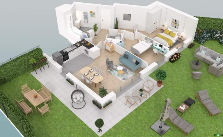 Plan 3D - 3 pièces - D03 -  Les Terrasses de Bry